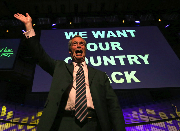 United Kingdom Independence Party (Ukip) leader Nigel Farage campaigning to leave the EU