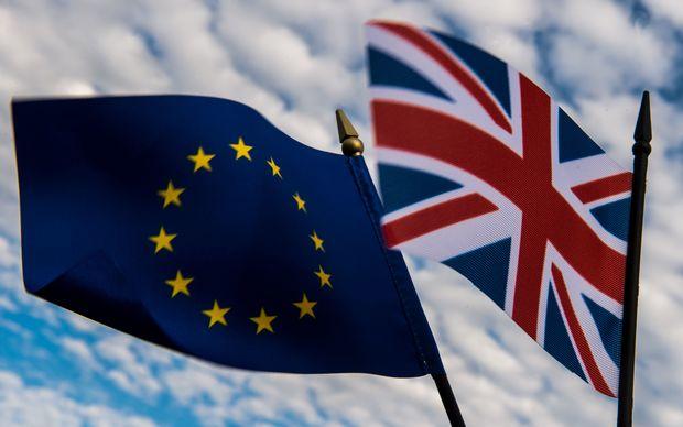 European Union and the United Kingdom flags.