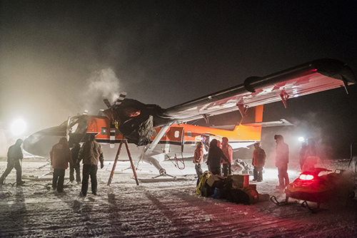 A Twin Otter aircraft on a medical evacuation flight on the ice at NSF's Amundsen-Scott South Pole Station.