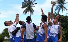 Manu Samoa are all smiles at training ahead of Saturday's test against Tonga.