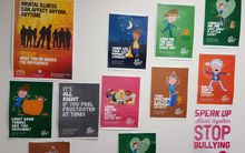 Bright coloured posters on office wall
