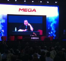Kim Dotcom speaks to media at the launch.