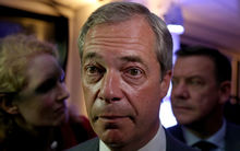 UK Independence Party (UKIP) leader Nigel Farage speaks to journalists at the Leave EU referendum party at Millbank Tower in central London.