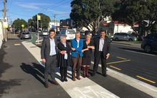Deputy mayor Justin Lester with resident Jane Byrne, cycling advocate Ron Beernink, Island Bay residents association president Vicki Greco and councillor Paul Eagle.