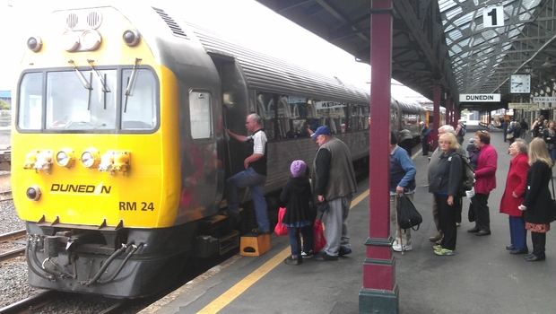 Passengers board the train bound for Oamaru.