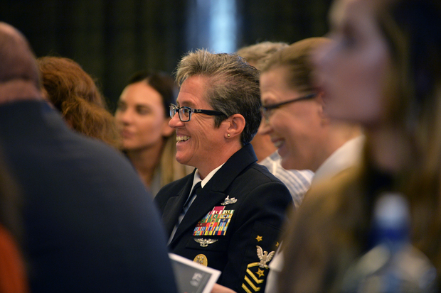 US Fleet Master Chief Susan Whitman at a conference celebrating 30 years of women at sea in New Zealand Navy.