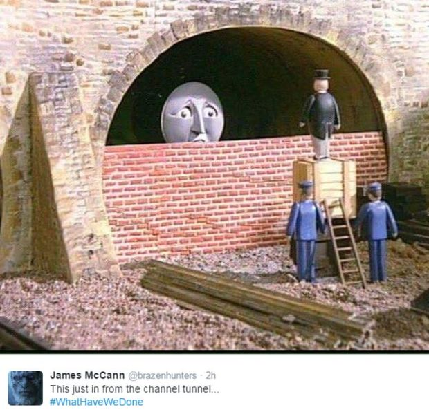 Thomas the tank engine hits a wall at the end of the Channel Tunnel.