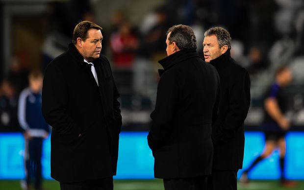 Steve Hansen, Ian Foster and Wayne Smith, Dunedin 2016.