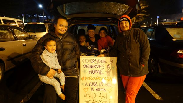 Entire families joined the Park Up for Homes event in Ōtara's town centre on Saturday night, organised by members of the community and staff at Manukau Institute of Technology.