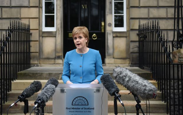Scotland's First Minister and Leader of the Scottish National Party (SNP), Nicola Sturgeon, addresses the media after holding an emergency Cabinet meeting at Bute House in Edinburgh,