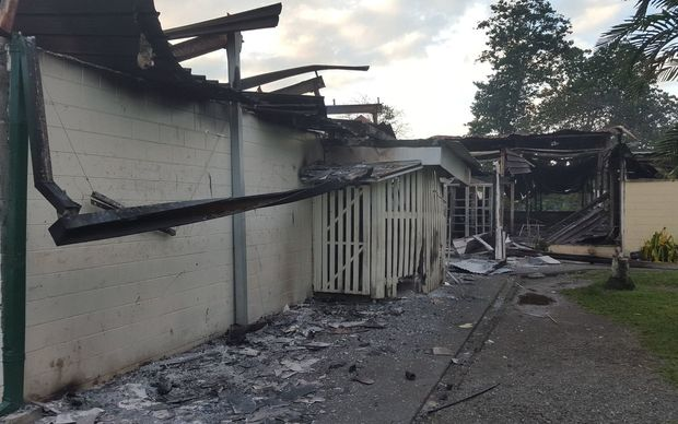 Crowds set fire to a number of buildings at the University of Technology in Lae, Papua New Guinea, leaving extensive damage.