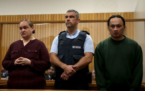 From left, Tania Shailer, a court officer and David William Haerewa at the High Court in Rotorua.