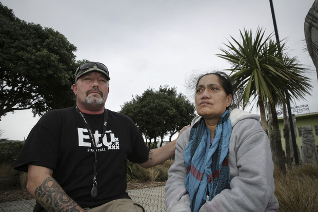 29062016 Photo RNZ / Rebekah Parsons-King. L-R Mark James, E Tu's lead organiser for Wellington is campaigning for Situa Tangatauli, who works three jobs on a minimum wage and struggles to feed her family, they are hoping to get a living wage to better the lives of her family.