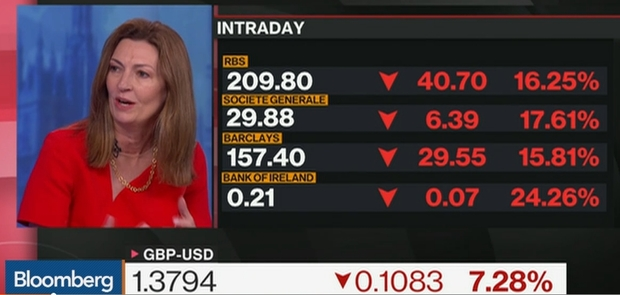 Investment boss Anne Richards on Bloomberg TV while UK Sterling slumps
