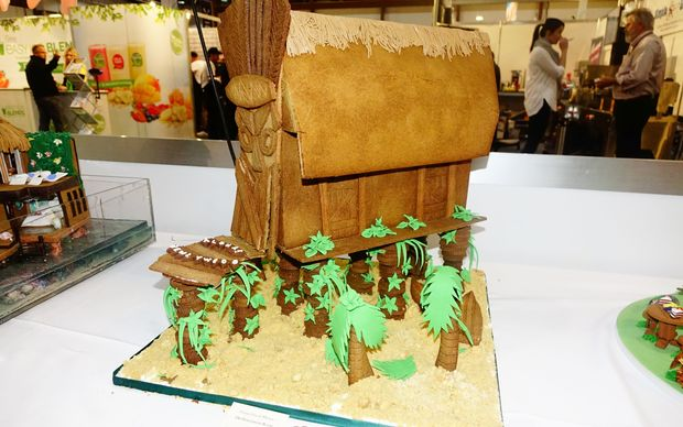 A Pacific-themed gingerbread house at a trade exhibition in Auckland.