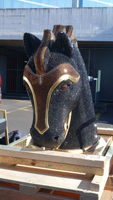 The 400kg sculpture of a diamante-encrusted horse head had been freighted into New Zealand from Mexico.