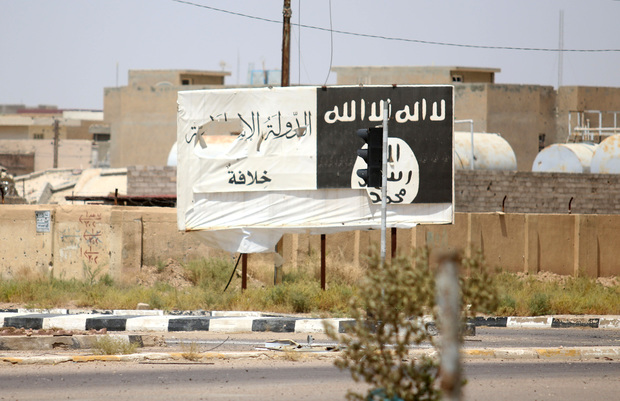 A billboard of the Islamic State group in Fallujah which is 50km from Baghdad, and was retaken by Iraqi forces on 26 June.