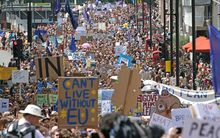 Protesters took to the streets of London to oppose Britain's exit of the European Union more than a week after the referendum.
