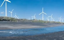 An artist's impression of the wind turbines from Whenuakura rivermouth.