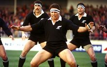 All Black captain Wayne Shelford leads the haka at the 1st international rugby union test between the All Blacks and Argentina at Carisbrook, Dunedin New Zealand, on Saturday 15 July, 1989.