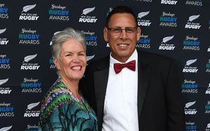Buck Shelford and wife Joanne arrive on the red carpet for the Steinlager Rugby Awards. Viaduct Events Centre. Auckland. Thursday 11 December 2014.