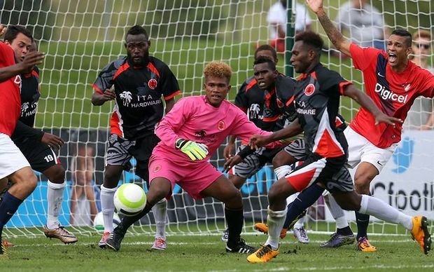 Solomon Warriors defend their goal against Amicale FC duirng the 2016 OFC Champions League.