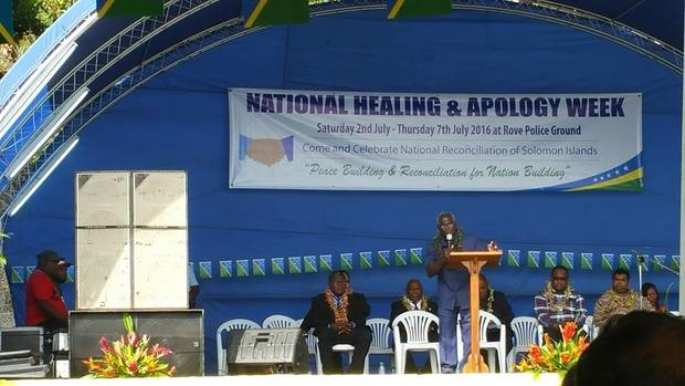 Solomon Islands Prime Minister Manasseh Sogavare speaking during the National Healing and Apology Week in Honiara. 2-7/ July/2016