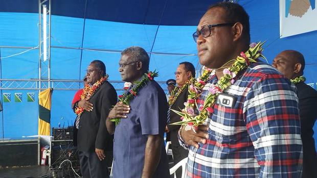 Solomon Islands Prime Minister Manasseh Sogavare (centre) at the National Healing and Apology Week in Honiara. 2-7/ July/2016