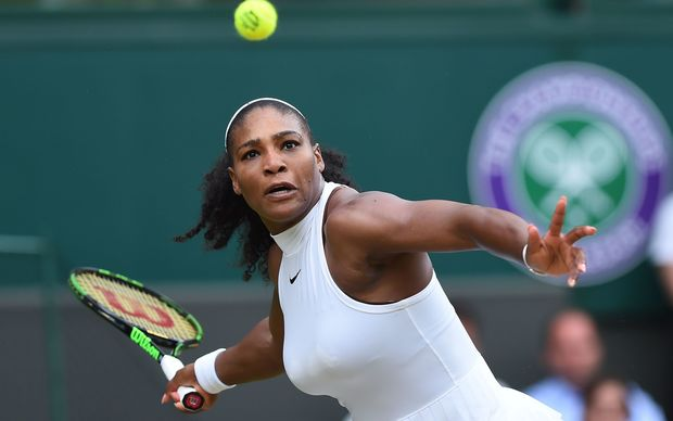 Serena Williams is one win away from playing her sister Venus in the final at Wimbledon for the fifth time.