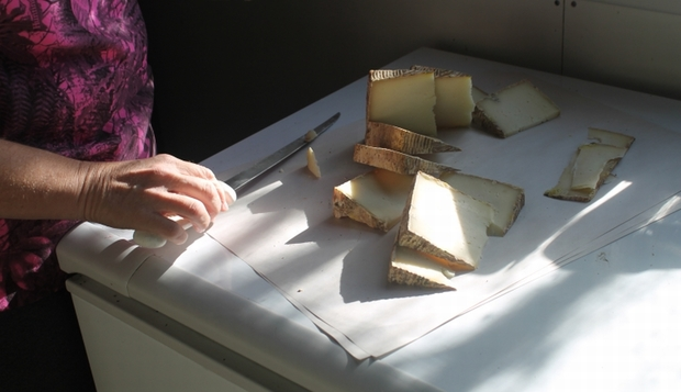 An image of sliced Pecorino-style cheese made from buffalo milk.