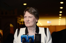 Helen Clark, former prime minister of New Zealand and current head of the UN Development Programme, addresses the press to discuss her candidacy for UN secretary general after a hearing before UN member states in New York on April 14, 2016.