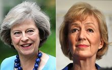 In this combination of file pictures created on July 7, 2016, British Conservative Party leadership candidate Theresa May (L) arrives to attend a cabinet meeting at 10 Downing Street in central London on June 27, 2016 and British Conservative Party leadership candidate Andrea Leadsom (R)