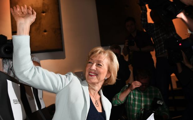 Andrea Leadsom waves to supporters before delivering a leadership rally speech in central London on July 7, 2016.