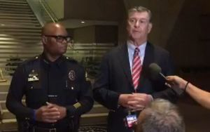 Dallas Police Chief David Brown and Dallas Mayor Mike Rawlings at police stand-up on 8 July 2016.