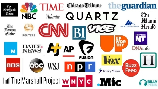 A montage of logos of long-established media names and digital-era ones.