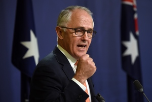 Australia's Prime Minister Malcolm Turnbull declares victory for the ruling conservatives at a press conference in Sydney on July 10, 2016.
