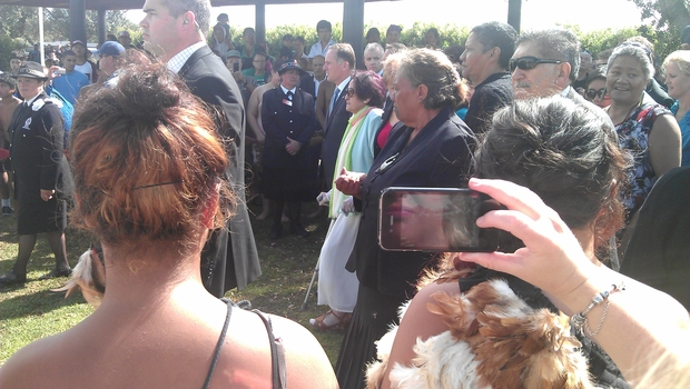 Prime Minister John Key, centre, was escorted onto the marae by elders including Titewhai Harawira.
