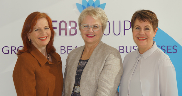 FAB Group's leadership team from left to right; Franceska Banga (chair),  Jackie Smith (founder), Glenice Riley (chief executive)