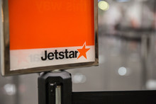 Jetstar sign at Auckland Airport.