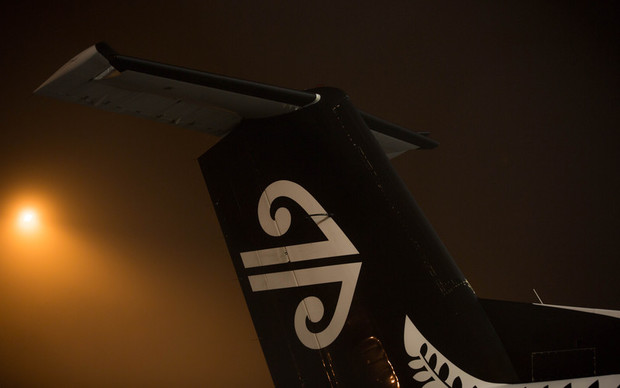 A regional Air New Zealand plane grounded at Auckland Airport due to fog. 6 July 2016.