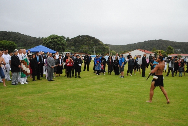 Sir Jerry Mateparae is challenged on Te Tii Marae during a visit to Waitangi on Tuesday.