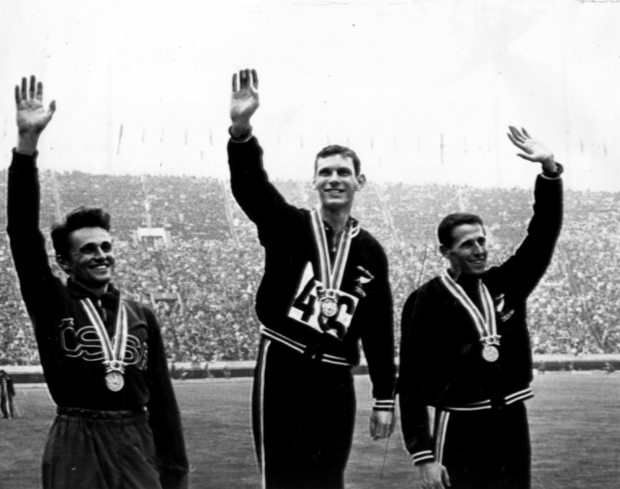 Peter Snell, centre, won gold in the men's 1500 metres in the 1964 Tokyo Olympics. Pictured on the podium with, at left, Josef Odlozil (Cze) and  bronze-medal winner John Davies (NZL).