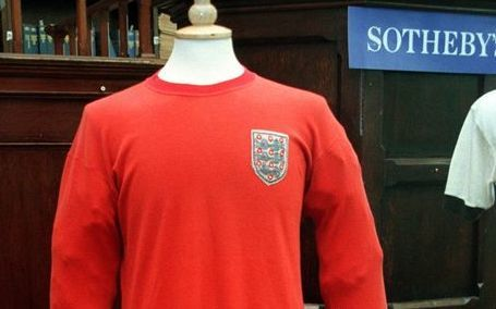 The famous jersey, worn by Geoff Hurst in the 1966 World Cup final.
