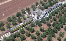 Carriages were torn apart by the force of the head-on collision in the southern Italian region of Puglia.
