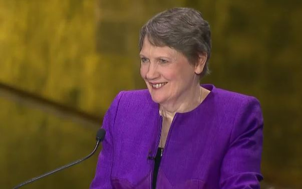 Helen Clark taking part in a televised debate with other candidates for the job of to be UN Secretary-General.