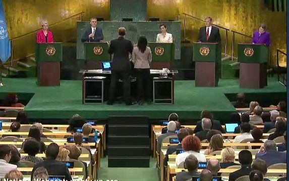 Five candidates for  UN Secretary-General including Helen Clark, at right, during a live televised debate.