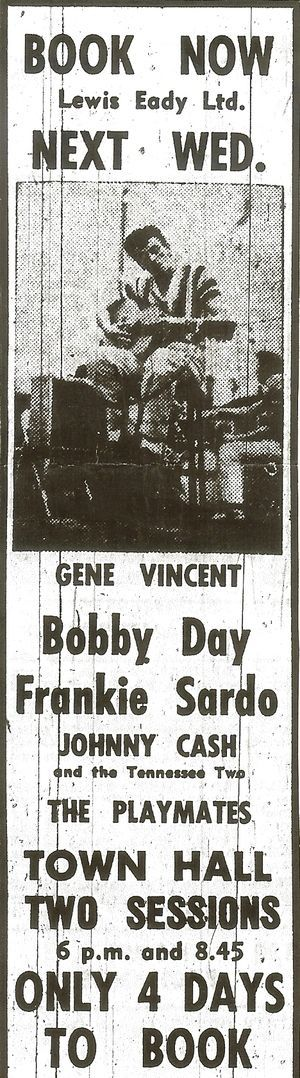 In April 1959 New Zealand got its first taste of big time rock & roll, when a show headlined by Johnny Cash and Gene Vincent played at Auckland's Town Hall.