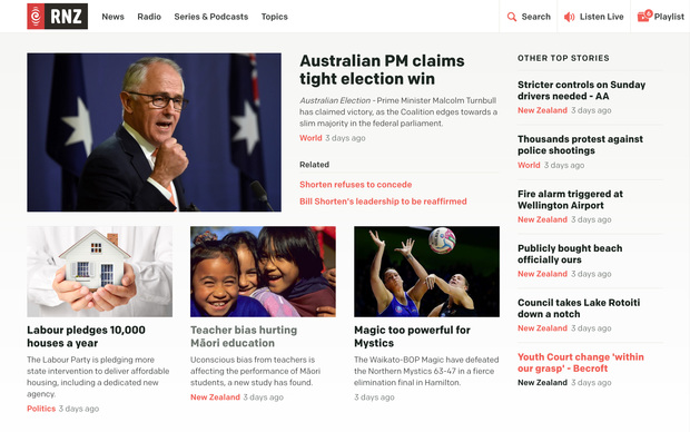 A screenshot of the new rnz.co.nz homepage design.