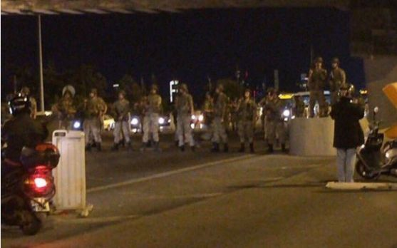 Turkish soldiers block both bridges on the Bosphorous in Instanbul.