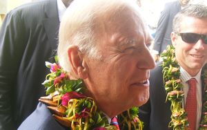 United States vice president Joe Biden meets a crowd that gathered during his 90-minute visit to American Samoa.